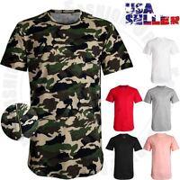 Men Long T Shirts Elongated Crew Neck Hip Hop Basic Tee Casual Longline Zipper