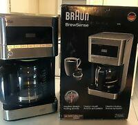 Braun KF7070 BrewSense Drip Glass Coffeemaker, 12 Cup, Stainless Steel Ger.Tech.