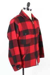 Vintage WOOLRICH Wool Plaid Hunting Shirt-jac Coat Jacket USA Mens Size Large