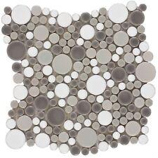 Circle Grey White Porcelain Mosaic Tile Backsplash Kitchen Feature Wall MTO0208
