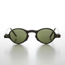 Small Round Vintage Spectacle Vintage Sunglass Black / Green Lens - Oscar