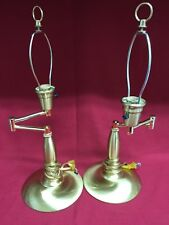 """2 Gold/Brass Extendable Arm Table Bed Side Nightstand Accent Lamps 20"""" tall"""