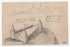 1940s CASTLE WILLIAM Drawing ART Fred Larrabee SKETCH South Boston ISLAND Mass
