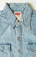 LEVI'S DENIM SHIRT MENS REGULAR FIT PEARL SNAPS SMALL LIGHT BLUE STRAUSS LSHT585