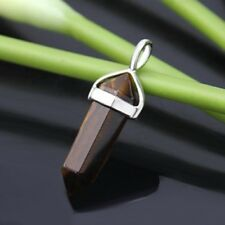 10X Tiger Eye Pendant Hexagon Prism Beads Charms for Necklace