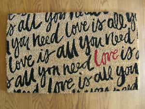 """Pottery Barn """"Love is All You Need"""" Doormat -Wedding,Bridal Shower,Valentine-New"""