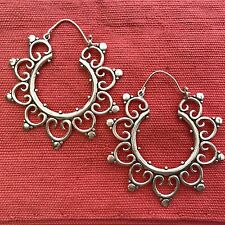 Silver-Plated Big Fancy Tribal Hoop Earrings