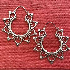 Silver-Plated Big Fancy Tribal Hoop Earrings