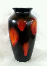 Poole Pottery black & amber orange glaze vase 8.25 inches