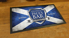 Personalised with your name Scotland Flag Chrome beer label Bar runner