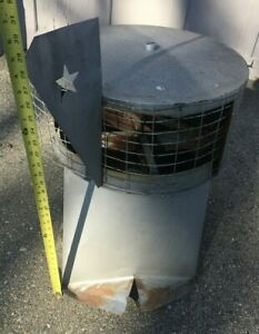 VINTAGE GALVANIZED METAL TIN ROOF BARN VENT TOPPER STAR PATTERN CUPOLA NICE!