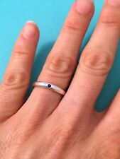 Tiffany & Co Sterling Silver Elsa Peretti Blue Sapphire Stacking Band Ring