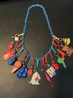 80's Plastic Clip On Charm Necklace w/ 15 Charms With Bells/ Bell Charms
