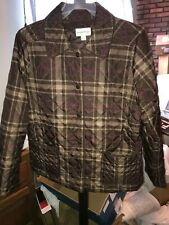 STUDIO WORKS PETITE Jacket Quilted Puffer Coat Women's Size PL BROWN PINK PLAID
