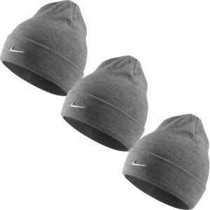 Nike Boys Kids Beanies Junior Metal Swoosh Beanie Winter Hat Warm Cap Grey