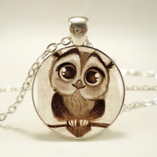 HOT Women Owl Photo Cabochon Glass Silver Chain Charm Pendant Necklace Jewelry