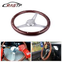 "15"" 38cm Classic Flat Dish Walnut Real Mahogany Wood Steering Wheel with Rivet"