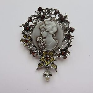 LARGE DIAMANTE SILVER GOTHIC STEAMPUNK VICTORIAN EDWARDIAN VINTAGE STYLE CAMEO