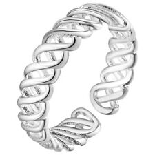 Silver Plated braid curl RING Thumb Wrap ADJUSTABLE Men Ladies UK double gift uk