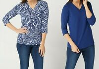 Denim & Co. Essentials Perfect Jersey Set of Two V-Neck Tops Navy X-Large Size