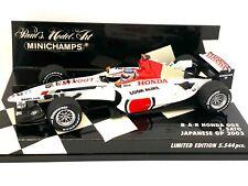 Limited Edition 1:43 scale Minichamps BAR Honda 005 - T Sato 2003 Japanese GP