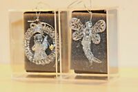 2 Vintage Clear Glass Christmas Ornaments Sterling Dragonfly Angel NEW Handmade