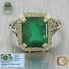 1930s Antique Art Deco 14k Solid White Gold 2.90ct Emerald Filigree Ring EGL