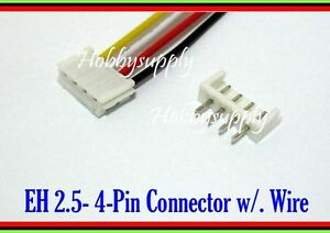 4 Pin EH 2.5mm male connector housing wire cable 30cm PCB Straight Header x 30