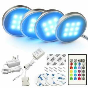 4PCS RGB LED Under Cabinet Lights Kit Kitchen Counter Closet Puck Display Remote