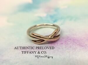 Excellent Authentic Tiffany & Co. Infinity Rose Gold Silver Ring RP$550