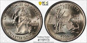 2000 P Washington State Quarter Massachusetts Reverse PCGS MS65
