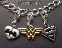 Wonder Woman Bracelet Charms Clip Ons Zipper Pulls Justice League DC Comics Gold