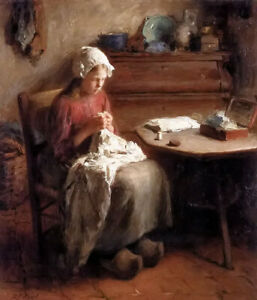Oil painting Evert Pieters - the young seamstress nice young lady by the table