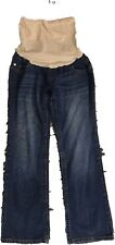 Motherhood Maternity MP Blue Pants Jeans Straight Full Belly Cover Pregnancy