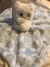 BLANKETS & BEYOND NUNU SECURITY BLANKET OWL WHITE And BLUE Lovey Baby NEW Owls