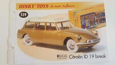 Dinky Toys Atlas - Fascicule SEUL de la Citroën ID 19 Break (Booklet only)