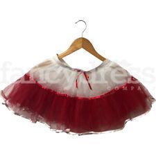 Ladies White Red Wally Nerd England Tutu Skirt 4 Layers Fancy Dress Costume