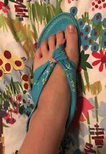 Laura Brandon Gladiator Canvas Leather Sandals Flats Sz 10 Aqua Thong Flip Flop