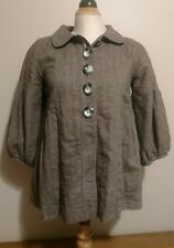 Free People Brown Empire Waist Wide Puff Sleeve Jacket Light Coat- Women's Sz XS