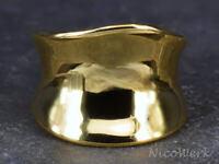 Silberring Schlicht Breit Glatt Golden Gewölbt Ring Silber 925 Verstellbar