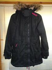 Superdry Black WINDPARKA FLEECE Lined Winter Coat *Size M-10-12* Ex Condition