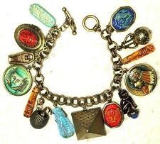 VINTAGE KING TUT EGYPT EXHIBIT BRACELET OLD and NEW CZECH CHARMS great quality