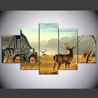 Whitetail Deer Barn Farm Tractor 5 piece canvas Wall Art Home Decor Print
