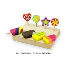 Ice-cream Lollipops Bar Set TRAY WOODEN Pretend Play FOOD EDUCATIONAL Kids TOY