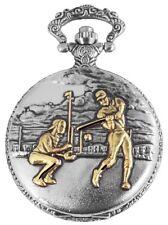 Baseball Analogue Quartz Metal W-180812000041350 Pocket Watch White Silver Gold