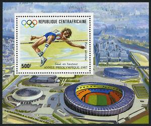Central Afrique C334 S/S, Mi Bl.420, MNH Olympiques Seoul. Haute Jump, 1987