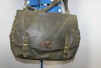 "Vintage style crackle Leather Briefcase Shoulder Messenger Bag 18x12"" LEILA"