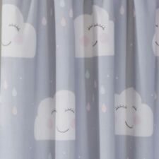 Felice Nuvole Tende Foderate Grigio Camera da Letto Nursery Bambini 183cm Goccia