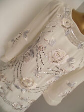 MONSOON IVORY FLORAL EMBROIDERED EMBELLISHED SEQUIN PAULA ROSE BRIDAL DRESS 8