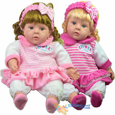 "24"" Lifelike Large Size Soft Bodied Chubby Baby Doll Girls Boys Toy With Sounds"